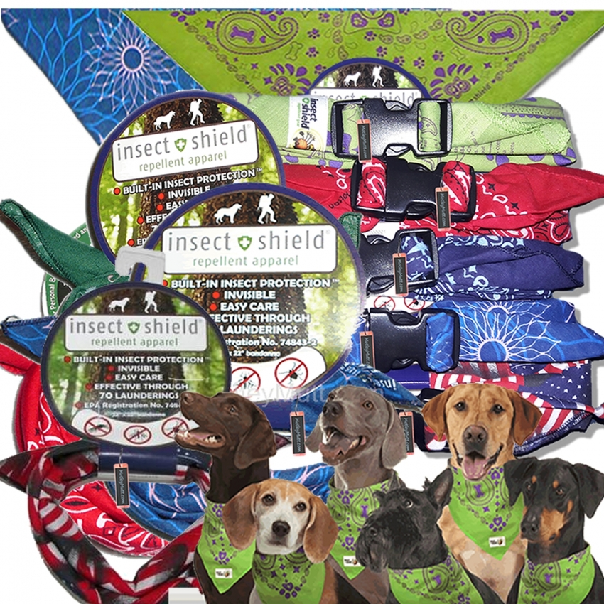 Insect Shield Dog Bandanas for Large Dogs with Quick Release Buckles.