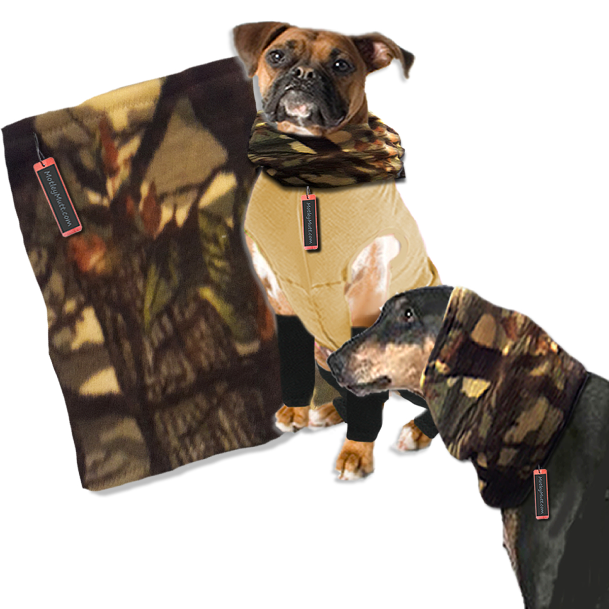 Camo Fleece Dog Neck Warmer Large to Giant Dogs
